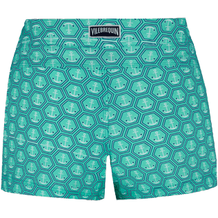 Women Others Printed - Women Stretch swim short Ancre De Chine, Mint back