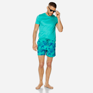 Men Classic Printed - Men Swimwear Flocked Coral and Turtles, Veronese green supp2