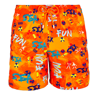 Men Embroidered Embroidered - Men Swimtrunks Printed and Embroidered Sea Sex and Fun - Limited Edition, Kumquat front