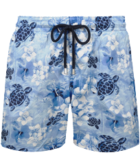 Men Ultra-light classique Printed - Men Swimwear Ultra-light and packable Jungle Turtles, Batik blue front