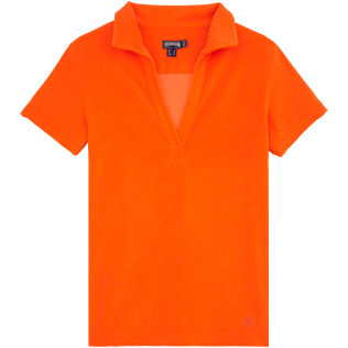 Women Polos Solid - Solid Terry polo, Papaya front