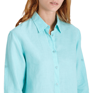 Women Others Solid - Women Long Linen Shirt Solid, Lagoon supp1