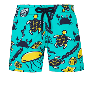 Boys Others Printed - Boys Swim Trunks Turtles Beach, Veronese green front