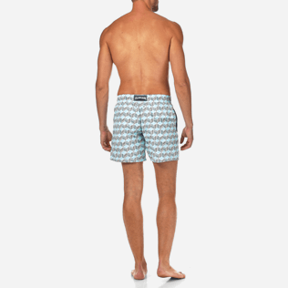 Men Classic Printed - Fishes Cube Swim shorts, Azure backworn