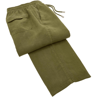 Men Pants Solid - Solid Linen pants, Khaki front