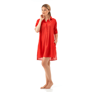 Women Dresses Solid - Solid dress shirt, Poppy red supp4