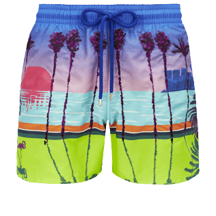 Men Embroidered Embroidered - Men printed and embroidered swimtrunks Miami - Limited Edition, Sea blue front