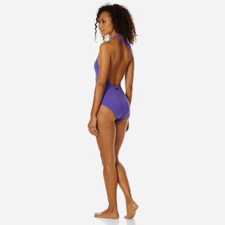 Women One piece Solid - Women shaping one piece swimsuit Solid, Hyacinth backworn
