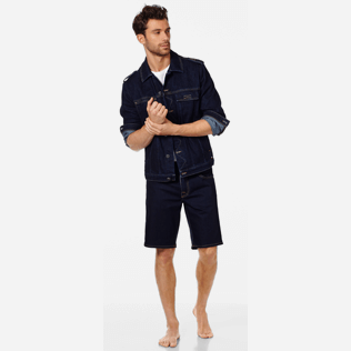 Men Others Solid - Men 5-Pocket Denim Bermuda Shorts, Dark denim w1 supp2