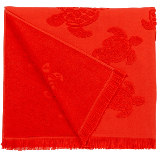 Others Solid - Beach Towel Fouta Jacquard Tortues, Poppy red back