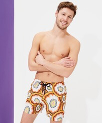 Men Ultra-light classique Printed - Men Swim Trunks Ultra-light and packable 1979 Anemones, Apricot frontworn