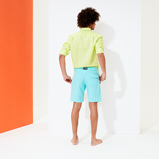 Men Others Solid - Men straight Linen Bermuda Shorts Solid, Lazulii blue backworn