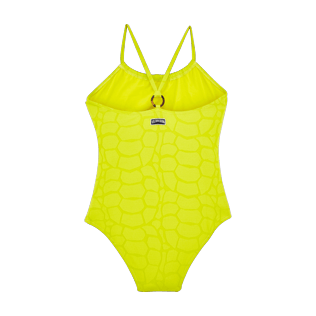 Girls Others Solid - Girls One Piece Swimsuit Turtles Scales, Chartreuse back