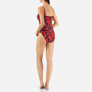 Women One Piece Printed - Silex Fishes One piece, Poppy red backworn