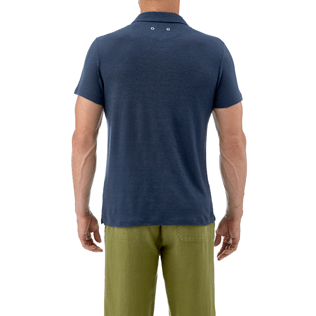 Men Others Solid - Solid Linen jersey polo, Navy supp3