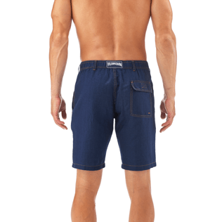 Men Shorts Solid - Indigo Straight bermuda, Indigo supp3