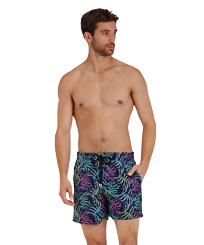 Men Classic Embroidered - Men Swim Trunks Embroidered Jungle - Limited Edition, Midnight blue frontworn
