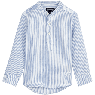 Boys Shirts Graphic - Micro-stripped Round collar shirt, Sky blue front