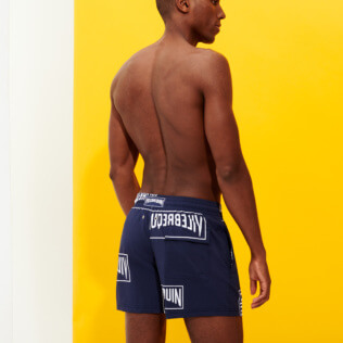 Men Stretch classic Printed - Men Stretch Swim Trunks Vilebrequin labels, Navy backworn