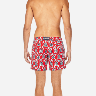Men Fitted Printed - Primitive Turtles Superflex Fitted cut Swim shorts, Poppy red supp2