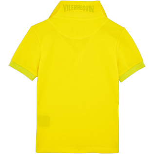 Boys Others Solid - Boys Cotton Pique Polo shirt Solid, Lemon back