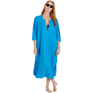 Women Others Solid - Women Linen Beach Cover-up Solid, Hawaii blue supp2