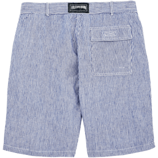 Men Shorts Graphic - Micro Stripes Straight bermuda, Ultramarine back