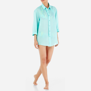 Others Solid - Unisex Linen Voile Shirt Solid, Lagoon supp4
