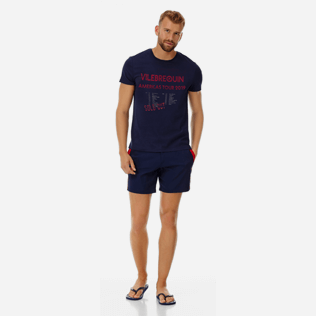 Men Others Printed - Men Cotton T-Shirt Vilebrequin Tour, Navy supp2