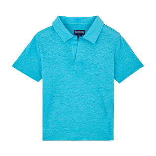 Boys Others Solid - Linen Boys Polo Shirt Solid, Horizon front