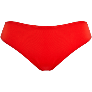 Women High waist Solid - Women high-waisted brief bikini bottom - Vilebrequin x JCC+ - Limited Edition, Red polish front