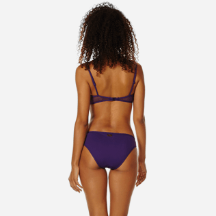 Women Classic brief Solid - Women midi brief bikini Bottom Solid Net, Reddish purple backworn