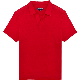 Men Others Solid - Men Linen Jersey Polo Shirt Solid, Red polish front