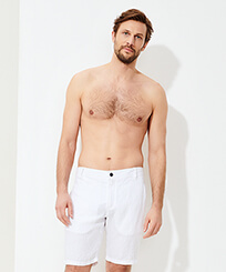 Men Others Solid - Men straight Linen Bermuda Shorts Solid, White frontworn