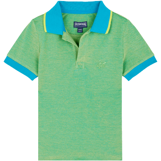 Boys Others Solid - Boys Cotton Pique Polo Shirt Solid, Light azure front