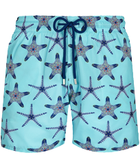 Herren Klassische dünne Stoffe Bedruckt - Men Swimwear Ultra-light and packable Starfish Dance, Lazulii blue front