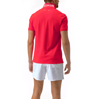 Men Polos Solid - Solid Cotton pique polo, Poppy red backworn
