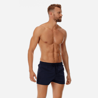 Men Short classic Solid - Men short and fitted stretch swimwear solid, Navy frontworn