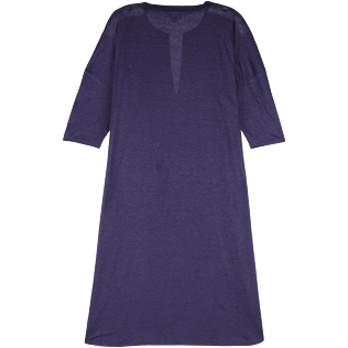 Women Others Solid - Women Long linen jersey Tunic Dress Solid, Midnight blue back
