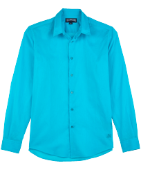 Others Solid - Unisex Cotton Voile Light Shirt Solid, Azure front