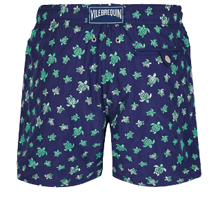 Men Classic Embroidered - Men Swim Trunks Embroidered Micro Ronde Des Tortues - Limited Edition, Sapphire back