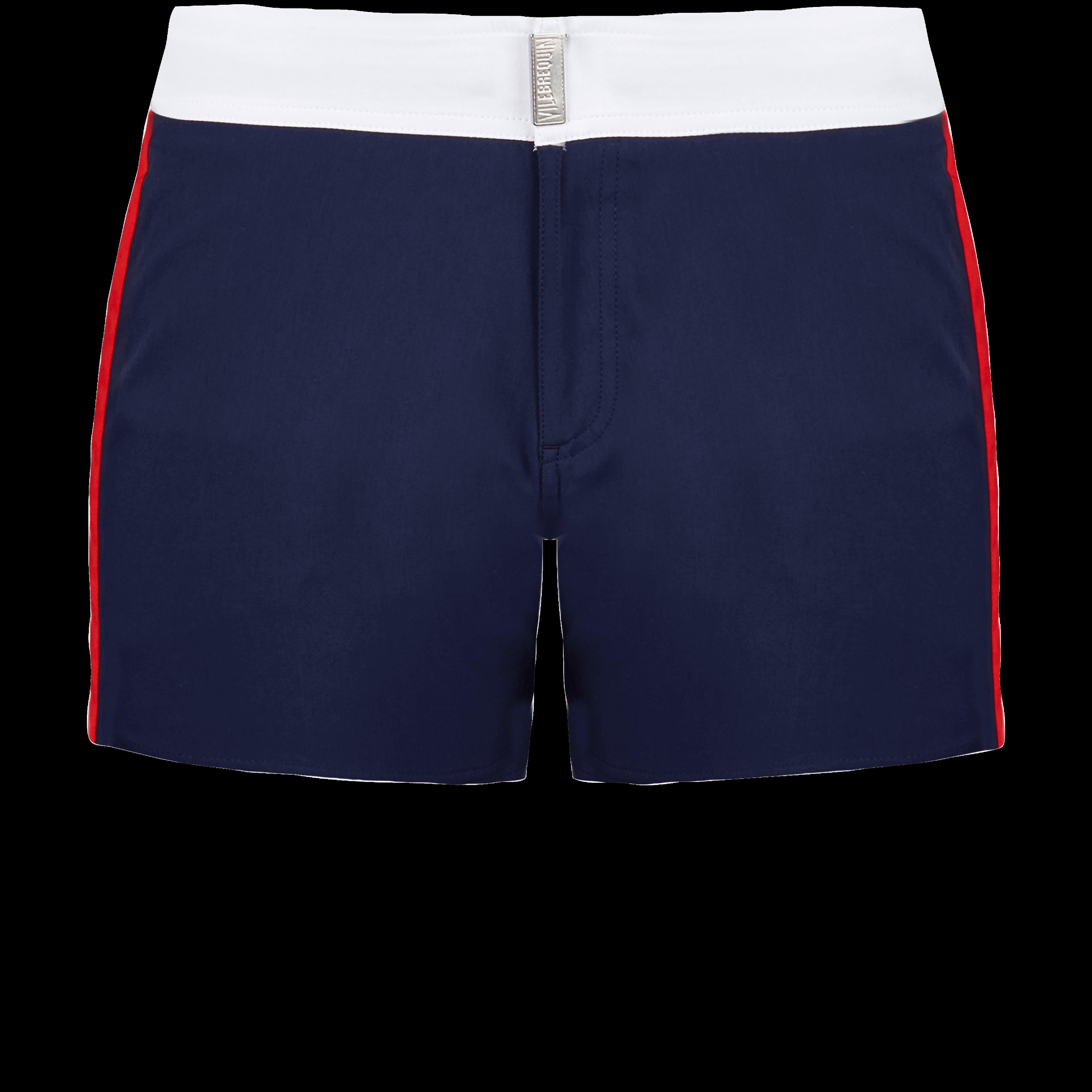 Men Swimwear - Men Flat Belt Stretch Swimwear Tricolor - Swimming Trunk - Merle in Navy