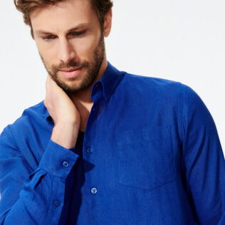 Men Others Solid - Men Linen Shirt Solid, Batik blue supp1