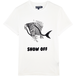 Men Others Printed - Prehistoric Fish Round neck T-Shirt, White front