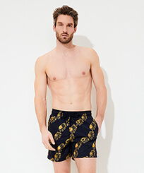 Men Classic Embroidered - Men Swim Trunks Embroidered Elephant Dance - Limited Edition, Navy frontworn