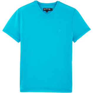 Men Tee-Shirts Solid - Solid V-neck Mercerized cotton T-Shirt, Azure front