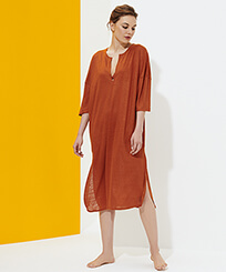 Women Others Solid - Women Linen Dress Solid, Paprika frontworn