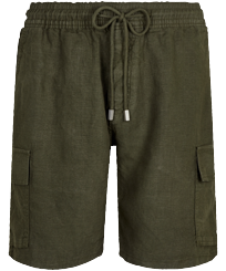 Men Others Solid - Men Cargo Linen Bermuda Shorts Solid, Pepper front