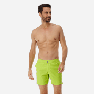 Men Flat belts Solid - Men Flat Belt Stretch swimtrunks Solid, Cactus frontworn