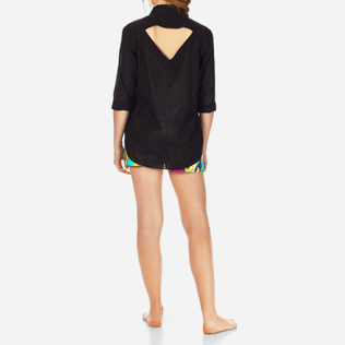 Women Shirts Solid - Women Halter Cotton Voile Shirt Solid, Black backworn